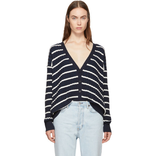 T BY ALEXANDER WANG Navy & White Relaxed Stripe Cardigan