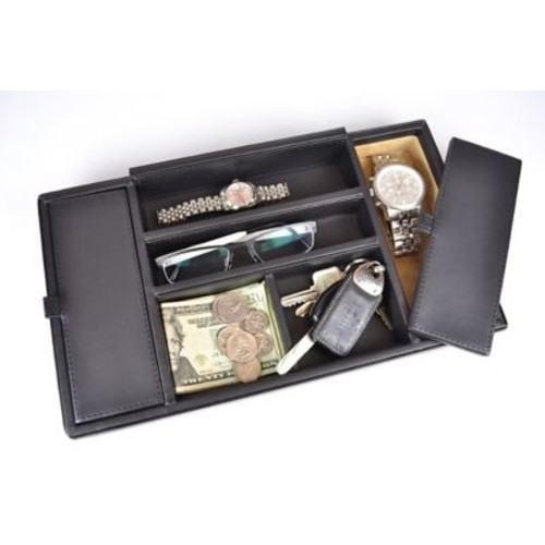 Royce Leather Valet Tray Milano Black
