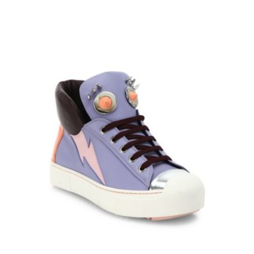 FENDI Faces Studded Leather High-Top Sneakers