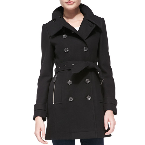 BURBERRY BRIT Daylesmoore Wool-Blend Zip-Pocket Trench Coat, Black