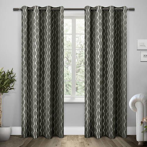 Exclusive Home Curtains Trellis Grommet Top Window Curtain Panel Pair, Black Pearl, 54x84