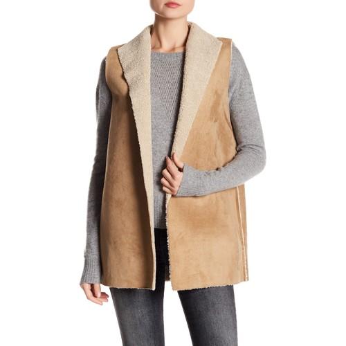 Faux Shearling Faux Suede Outerwear Vest