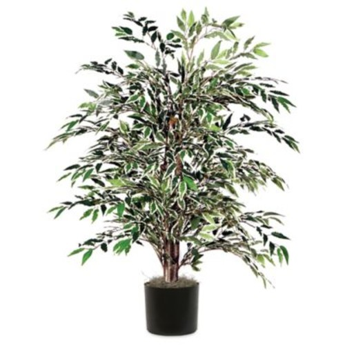 4-Foot Fabric Variegated Smilax Bush with Black Pot