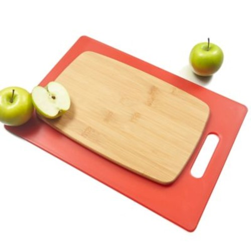 Architec Poly & Bamboo 2-Piece Cutting Board Set in Red