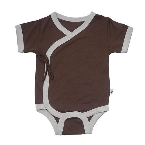 Babysoy Neutral Chocolate Short Sleeve Kimono Bodysuit