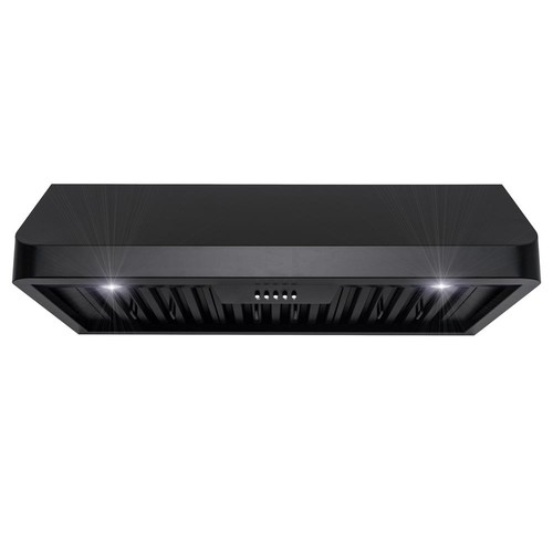 AKDY 36 in. Ducted Under Cabinet Kitchen Range Hood in Black Stainless Steel with Lights