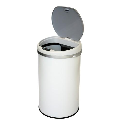 iTouchless Deodorizer 8 Gallon Round Sensor Trash Can Matte Finish Pearl White