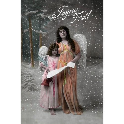Joyeux Noel Christmas Carols Angel Vintage Holiday (Chef's Cotton/Poly Apron)