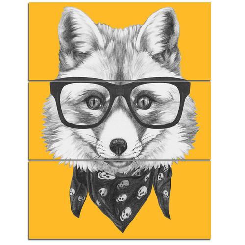 Designart 'Funny Fox with Formal Glasses' Contemporary Animal Art Metal Wall Art