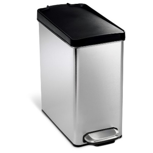 simplehuman studio 10 Liter Profile Step Trash Can in Brushed Stainless Steel with Plastic Lid