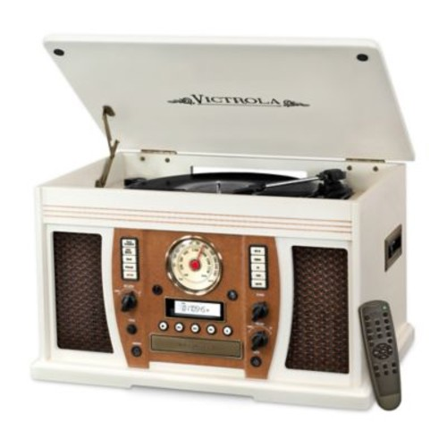 Victrola Aviator Wood 7-in-1 Nostalgic Record Player with Bluetooth and Digital CD Encoding