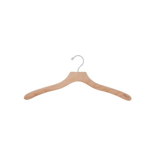 19 Wooden Shirt Hangers, Natural Finish, Set of 5