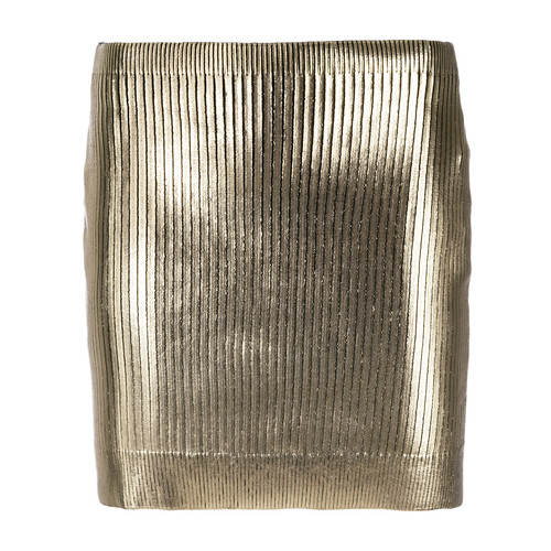 SAINT LAURENT Metallic Coated Mini Skirt