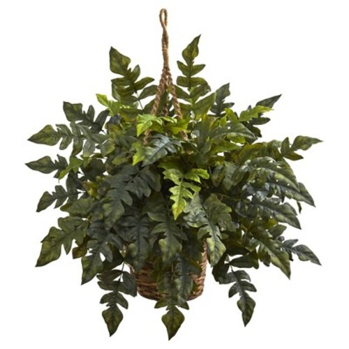 Holly Fern Hanging Basket - Nearly Natural