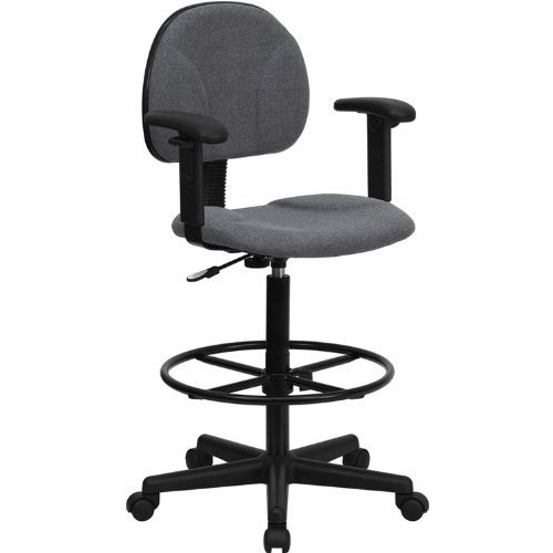 Flash Furniture Gray Fabric Drafting Chair with Adjustable Arms (Cylinders: 22.5''-27''H or 26''-30.5''H)