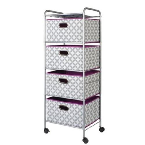 Bintopia 4-Dawer Storage Chest; Heather Gray/White/Purple