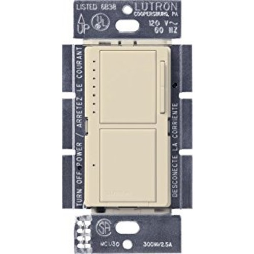 Lutron MA-L3S25-ES Maestro 300-Watt Single-Pole Digital Dimmer and 2.5 Amp On/Off Switch, Eggshell