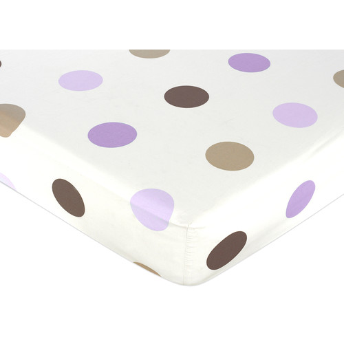Sweet Jojo Designs Purple and Chocolate Mod Dots Collection Fitted Crib Sheet - Large Dot Print