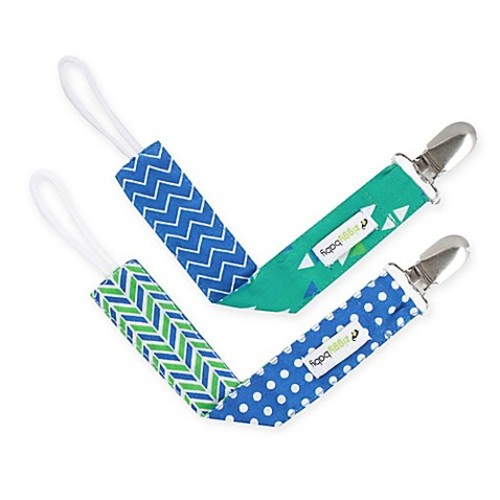 Ziggy Baby 2-Pack Pacifier Clip in Blue/Teal