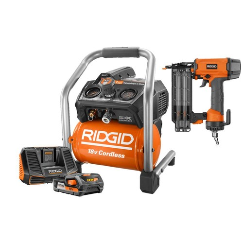 RIDGID 18-Volt 1 Gal. Hand Carry Air Compressor and 2-1/8 in. 18-Gauge Brad Nailer with Upgrade Kit