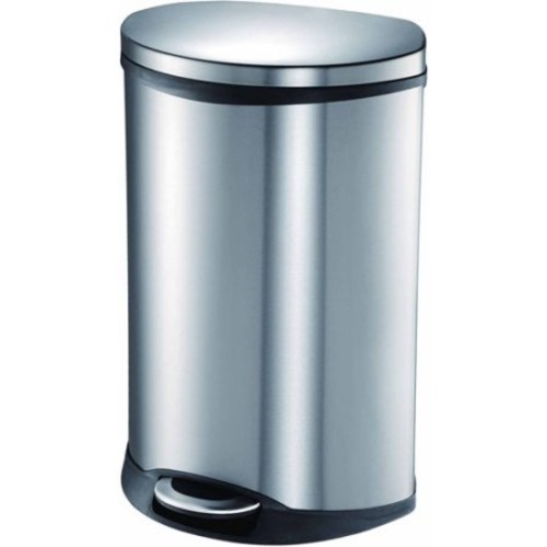 Household Essentials EKO Fifty Liter Step Bin Stainless Trash Can with Hands-Free Open and Close