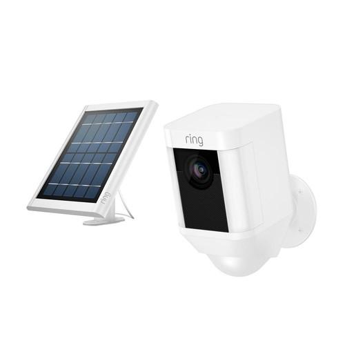 Ring Spotlight Cam Solar Wireless Outdoor Rectangle Security Camera, White