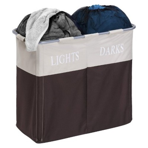 Honey-Can-Do Dual Compartment Hamper - Brown
