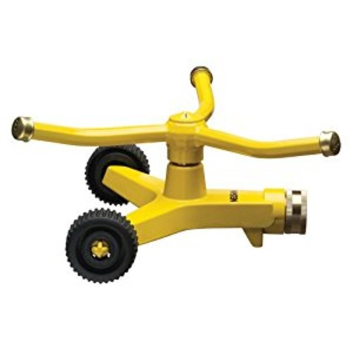 Nelson Three-Arm Square Pattern Spray Whirling Sprinkler with Metal Wheel Base 50231 : Pulsator Lawn And Garden Sprinklers : Garden & Outdoor