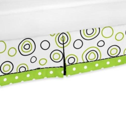 Sweet Jojo Designs Spirodot Toddler Bed Skirt in Lime/Black