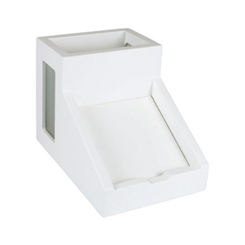 Victor Wood Pure White Collection Pencil Cup with Note Holder, W9505