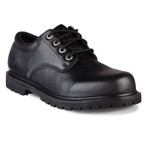 Skechers Cottonwood - Elks Men Size 7 Black Leather Work Shoe
