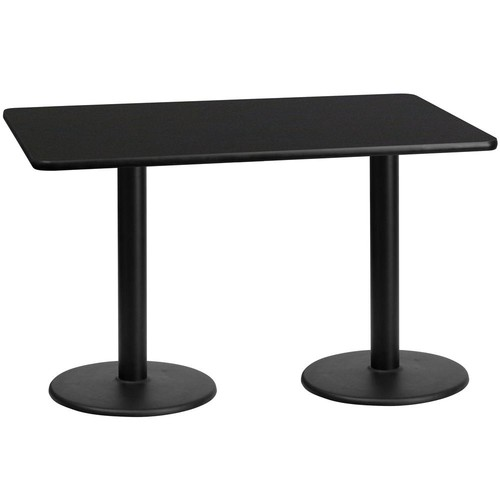 Flash Furniture 30'' x 60'' Rectangular Black Laminate Table Top with 18'' Round Table Height Bases