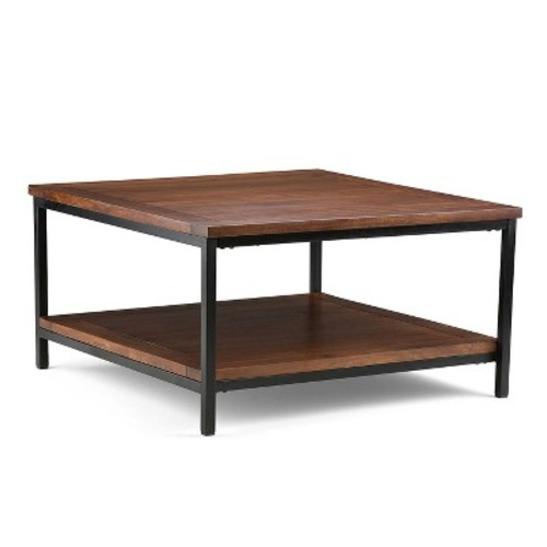 Simpli Home Skyler Dark Cognac Brown Coffee Table