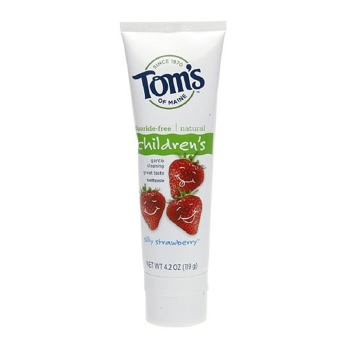 Tom's of Maine Natural Fluoride Free Toothpaste for Children, Silly Strawberry 4.2 Oz (119 G)