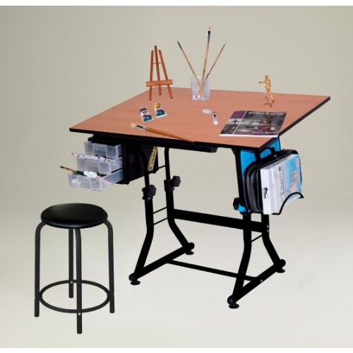 Offex Ashley Black Creative Art & Craft Hobby Drawing / Drafting Table with Stool and Rack Offex As
