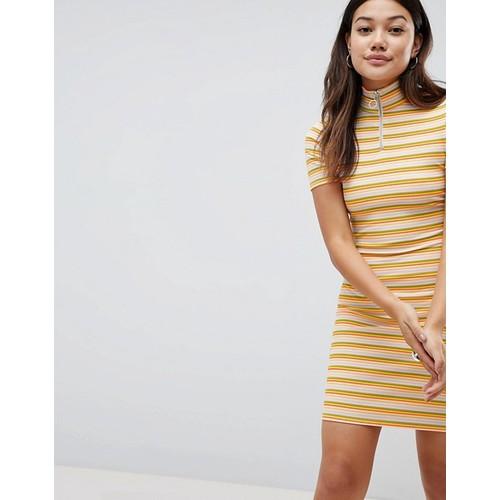 Daisy Street Bodycon Dress With Zip In Neon Stripe