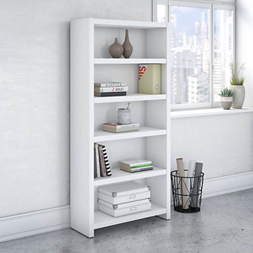 kathy ireland Office by Bush Business Furniture Echo 5 Shelf Bookcase, Pure White, Standard Delivery
