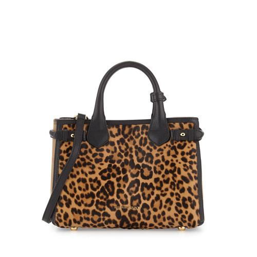 BURBERRY Animal-Print Calf Hair Small Satchel Bag, Camel
