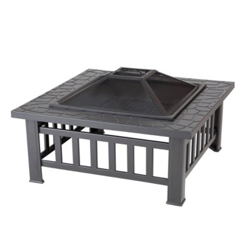 Fire Sense Stonemont 23 in. Square Steel Black Fire Pit