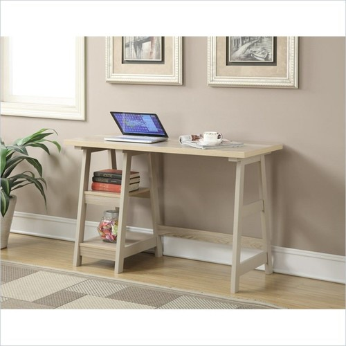 Convenience Concepts - Trestle Writing Desk - Finish: Weathered White - Multi