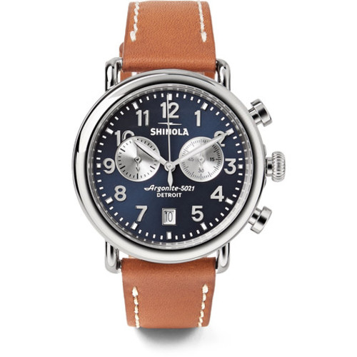 Shinola - The Runwell Chronograph 41mm Stainless Steel and Leather Watch