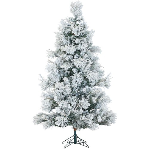 Fraser Hill Farm 9 ft. Unlit Flocked Snowy Pine Artificial Christmas Tree