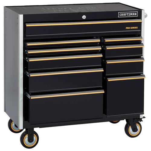 Craftsman 41-Inch 10-Drawer Rolling Cart - Black