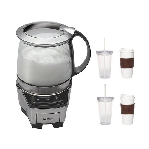 Capresso 206.05 Froth TEC Automatic Milk Frother with 2-Pack Coffee Mug and Iced Beverage Cup