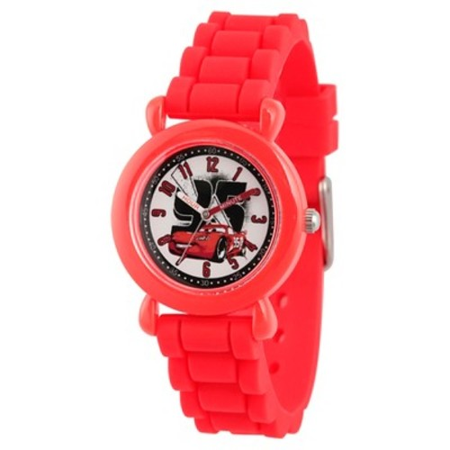 Disney Cars Lightning McQueen Boys' Red Plastic Time Teacher Watch, Red Silicone Strap, WDS000149