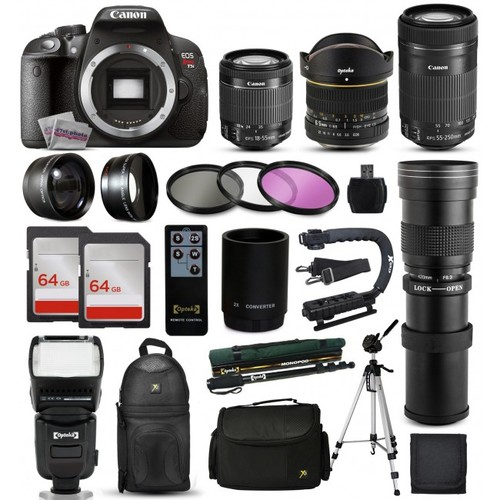 Canon T5i DSLR Camera + 18-55mm IS II + 55-250mm STM + 420-800mm + 128GB + More