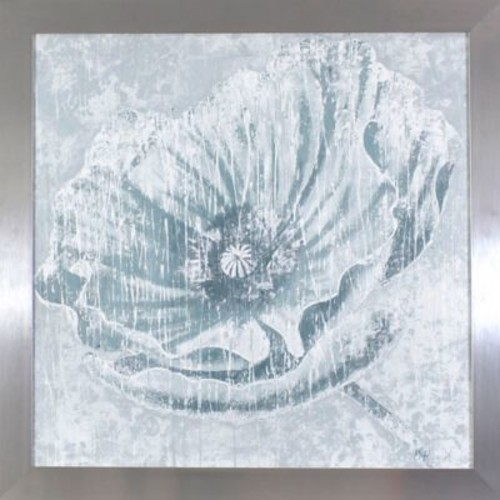 Dcor Therapy Distressed Ivory Flower 27.5-Inch Square Framed Wall Art