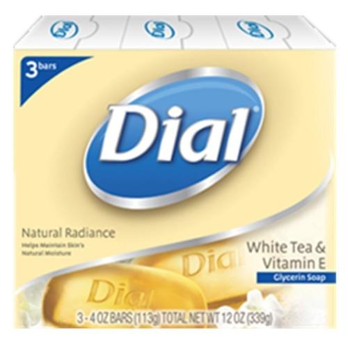 Dial Natural Radiance Bar Soap, Glycerin, White Tea & Vitamin E, 3 - 4 oz (113 g) bars 12 oz (340 g)