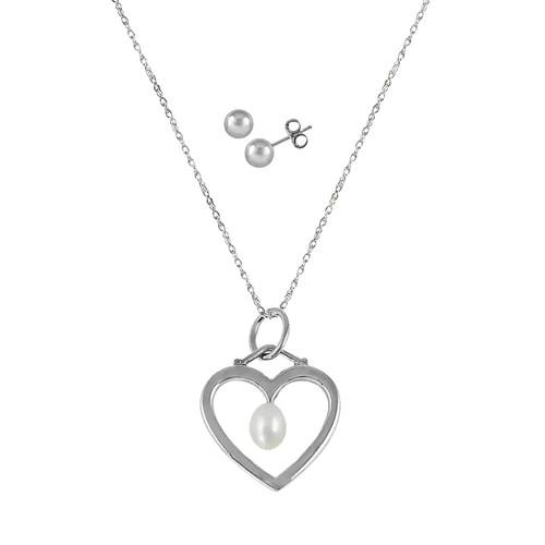 Sterling Silver Freshwater Cultured Pearl Heart Pendant & Stud Earring Set