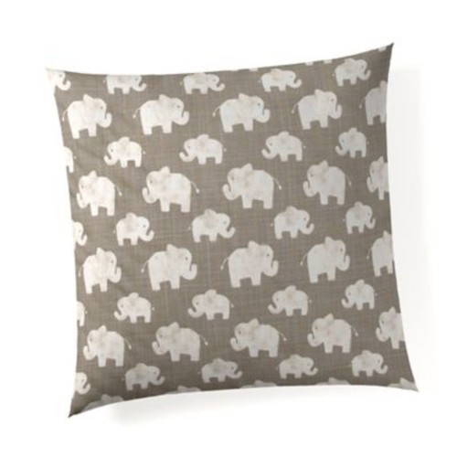 Glenna Jean Elephant Herd Throw Pillow in Stone